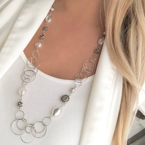 New York & Company silver circles long necklace